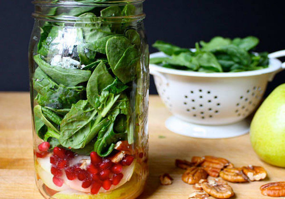 Blue Cheese, Pear, And Spinach Mason Jar Salad