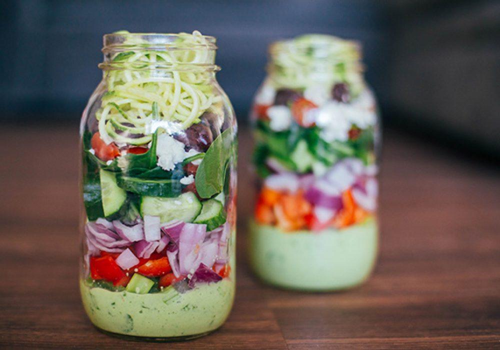 Greek Zucchini Salad In A Mason Jar